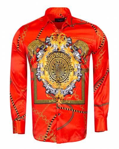 Oscar Banks - Luxury Chains Printed Long Sleeved Mens Shirt SL 6750