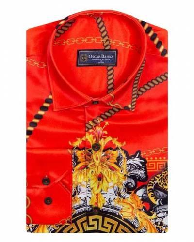 Oscar Banks - Luxury Chains Printed Long Sleeved Mens Shirt SL 6750 (1)