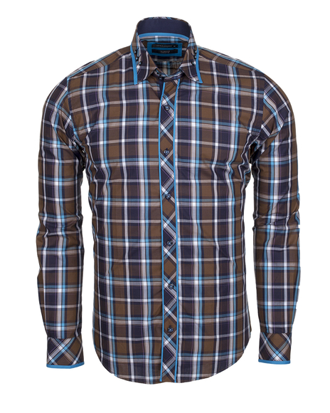 MAKROM - Luxury Check Multicolor Cotton Long Sleeved Mens Shirt SL 5403