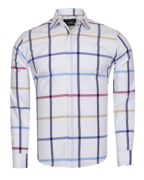 Oscar Banks - Luxury Check Oscar Banks Long Sleeved Mens Shirt SL 6761