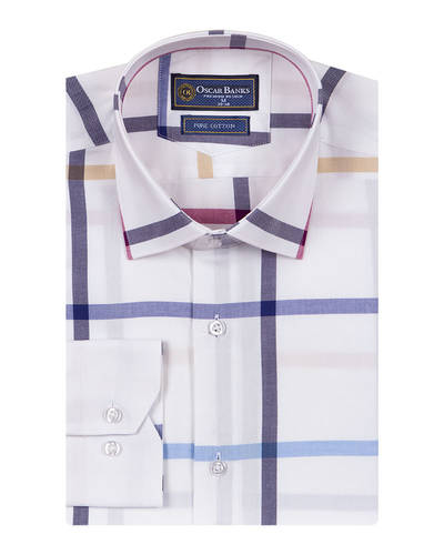 Oscar Banks - Luxury Check Oscar Banks Long Sleeved Mens Shirt SL 6761 (1)