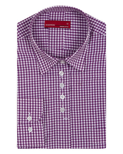 MAKROM - Luxury Check Pattern Printed Womens Shirt LL 3309 (Thumbnail - )