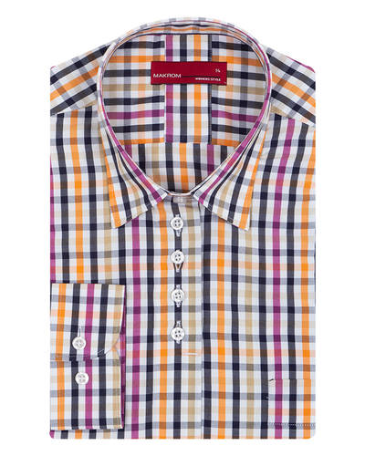 MAKROM - Luxury Check Printed Womens Shirt LL 3314 (Thumbnail - )