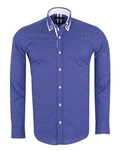 Luxury Circles Printed Double Collar Mens Shirt SL 7060