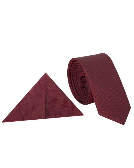 MAKROM - Luxury Claret Red Textured Necktie KR 20