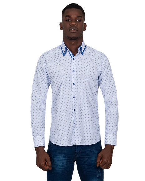 MAKROM - Luxury Collar Contrast and Cuff Insert Printed Long Sleeved Double Collar Mens Shirt SL 6817