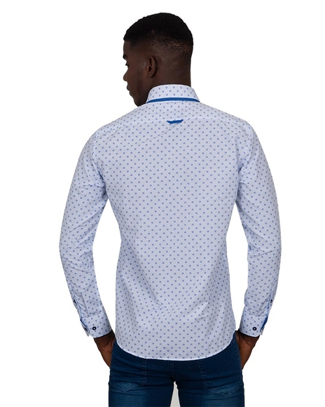 MAKROM - Luxury Collar Contrast and Cuff Insert Printed Long Sleeved Double Collar Mens Shirt SL 6817 (1)
