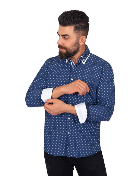 MAKROM - Luxury Collar Contrast and Cuff Insert Printed Long Sleeved Double Collar Mens Shirt SL 6817 (Thumbnail - )