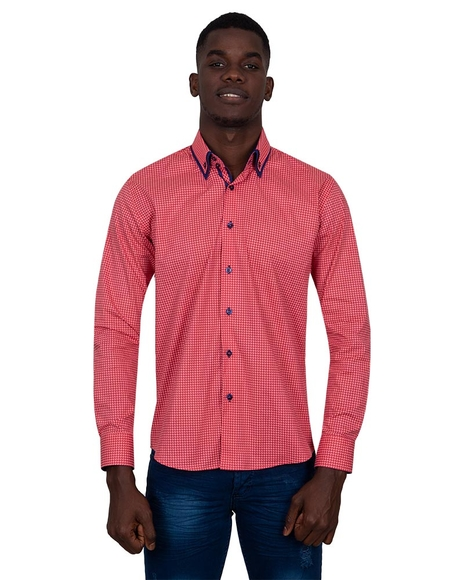 MAKROM - Luxury Collar Contrast and Cuff Printed Long Sleeved Mens Double Collar Shirt SL 6818 (Thumbnail - )