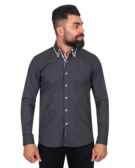 MAKROM - Luxury Collar Contrast and Cuff Printed Long Sleeved Mens Double Collar Shirt SL 6818
