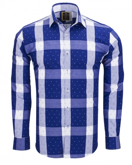 MAKROM - Luxury Cotton Check Classical Long Sleeved Mens Shirt SL 5990