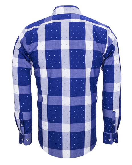 MAKROM - Luxury Cotton Check Classical Long Sleeved Mens Shirt SL 5990 (1)