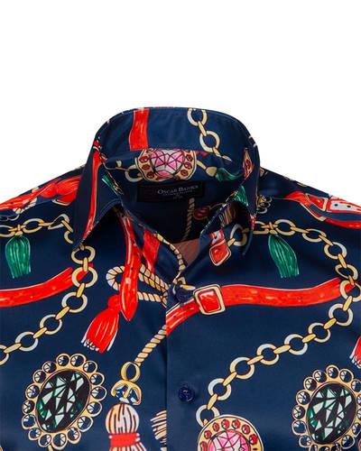 Luxury Dark Blue Mens Long Sleeved Satin Mens Shirt SL 6939