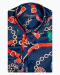 Luxury Dark Blue Mens Long Sleeved Satin Mens Shirt SL 6939 - Thumbnail