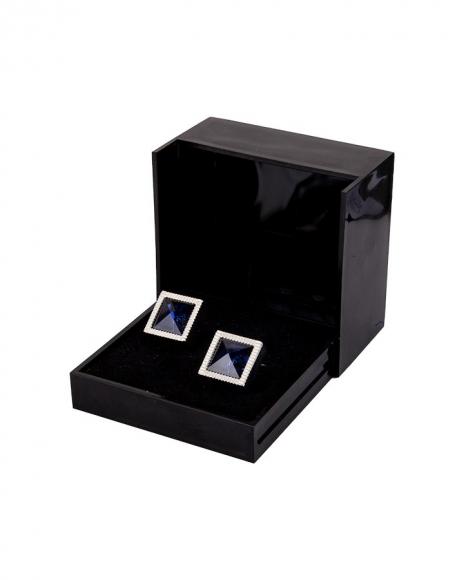 Luxury Diamond Shape Blue Enamel Cufflinks C 02