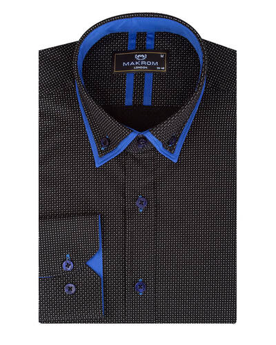 MAKROM - Luxury Dots and Patterns Printed Double Collar Mens Shirt SL 7074 (1)