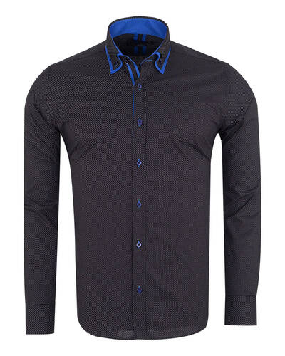 MAKROM - Luxury Dots and Patterns Printed Double Collar Mens Shirt SL 7074