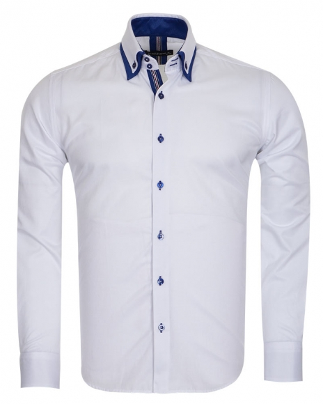 MAKROM - Luxury Double Collar Long Sleeved Mens Shirt With Details SL 6650 (Thumbnail - )