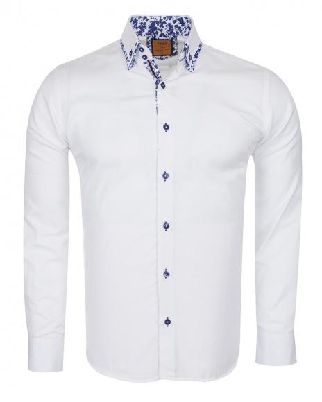 Oscar Banks - Luxury Double Collar Plain Long Sleeved Mens Shirt SL 6498