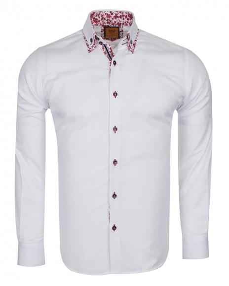 Oscar Banks - Luxury Double Collar Plain Long Sleeved Mens Shirt SL 6498 (Thumbnail - )