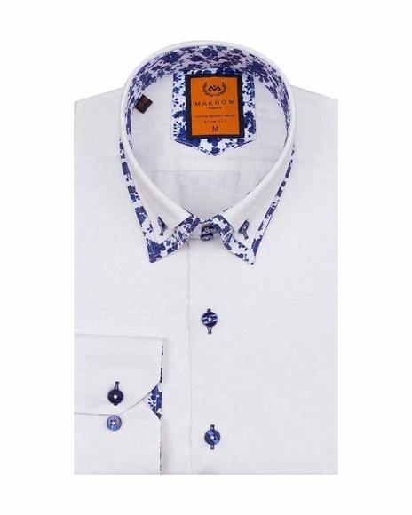 Oscar Banks - Luxury Double Collar Plain Long Sleeved Mens Shirt SL 6498 (1)