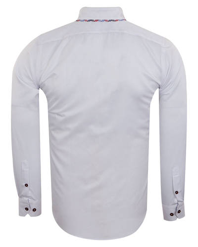 Luxury Double Collar Plain Long Sleeved Mens Shirt with Inside Details SL 7009