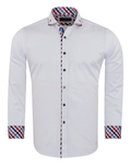 Luxury Double Collar Plain Long Sleeved Mens Shirt with Inside Details SL 7009 - Thumbnail