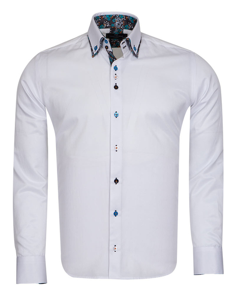 MAKROM - Luxury Double Collar Plain Mens Long Sleeved Mens Shirt With Details SL 6769 (Thumbnail - )