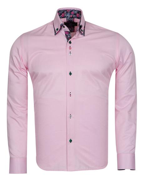 MAKROM - Luxury Double Collar Plain Mens Long Sleeved Mens Shirt With Details SL 6769