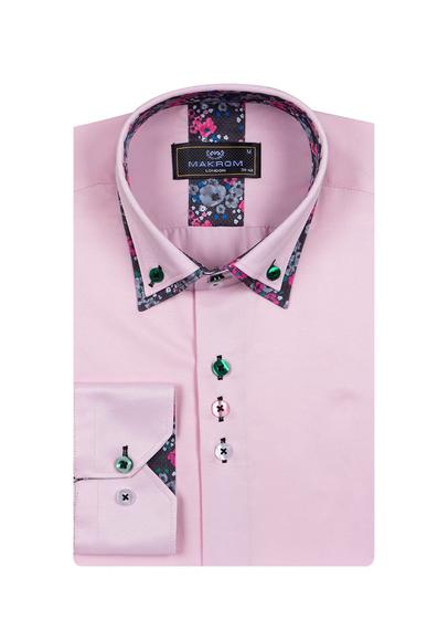 MAKROM - Luxury Double Collar Plain Mens Long Sleeved Mens Shirt With Details SL 6769 (1)