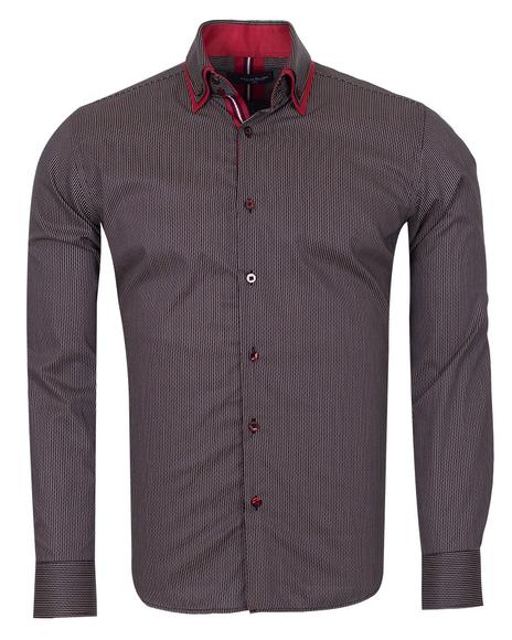 Oscar Banks - Luxury Double Collar Striped Mens Long Sleeved Mens Shirt SL 6741
