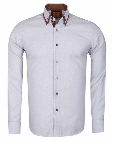 MAKROM - Luxury Double Collar Textured Long Sleeved Mens Shirt SL 6616 (Thumbnail - )