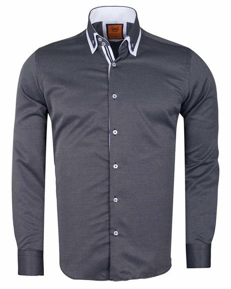 MAKROM - Luxury Double Collar Textured Long Sleeved Mens Shirt SL 6616