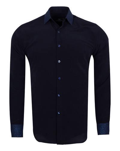 MAKROM - Luxury Fashion Mens Shirt with Silvery Details SL 6985 (Thumbnail - )