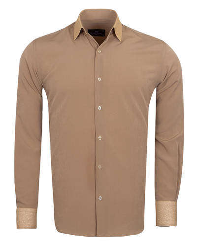 MAKROM - Luxury Fashion Mens Shirt with Silvery Details SL 6985