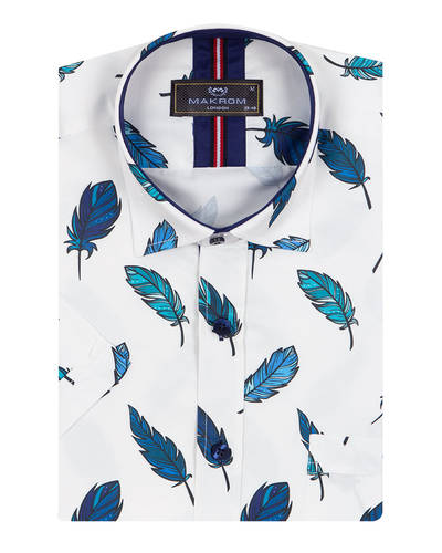 Luxury Feathers Printed Short Sleeved Shirt SS 7055