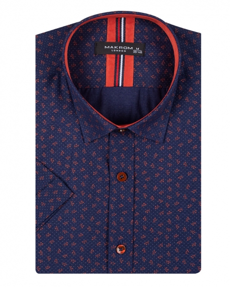 Luxury Floral and Polka Dot Printed Short Sleeved Shirt SS 6689