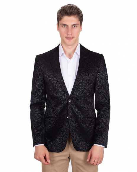 MAKROM - Luxury Floral Printed Black Mens Blazer J 225