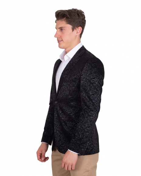 MAKROM - Luxury Floral Printed Black Mens Blazer J 225 (1)