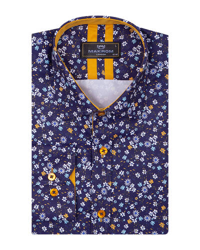 Luxury Floral Printed Long Sleeved Mens Shirt SL 7087