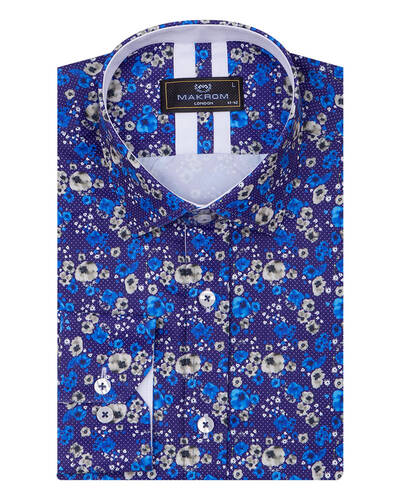 Luxury Floral Printed Mens Shirt SL 7084