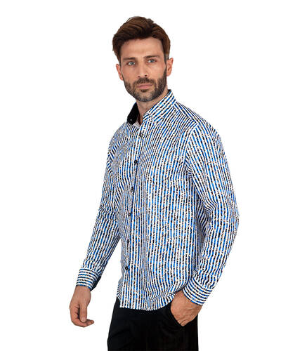 MAKROM - Luxury Floral Printed Mens Shirt SL 7085