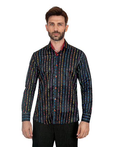 MAKROM - Luxury Floral Printed Mens Shirt SL 7085 (Thumbnail - )