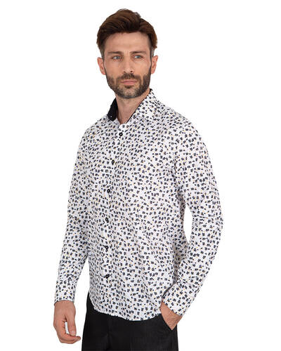 MAKROM - Luxury Floral Printed Mens Shirt with Details SL 7063 (1)