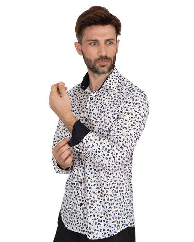 MAKROM - Luxury Floral Printed Mens Shirt with Details SL 7063