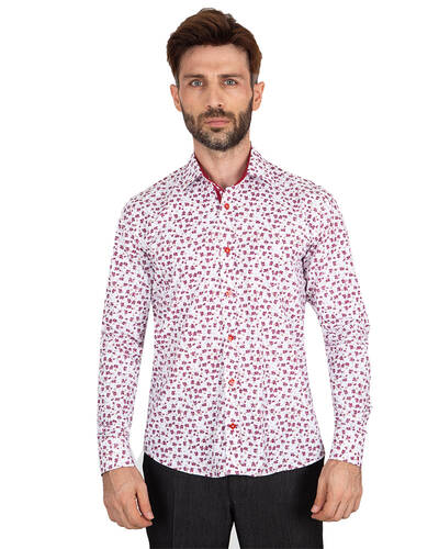 MAKROM - Luxury Floral Printed Mens Shirt with Details SL 7063 (Thumbnail - )