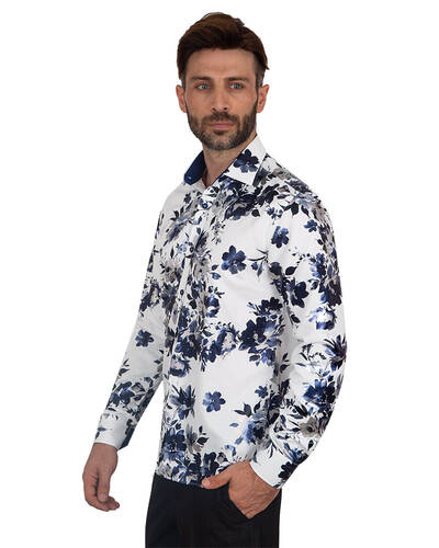 Luxury Flower Printed Long Sleeved Shirt SL 7092