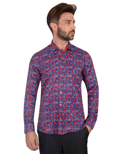 MAKROM - Luxury Flowers Printed Makrom Shirt SL 7103