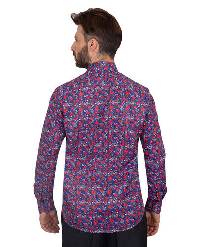 Luxury Flowers Printed Makrom Shirt SL 7103