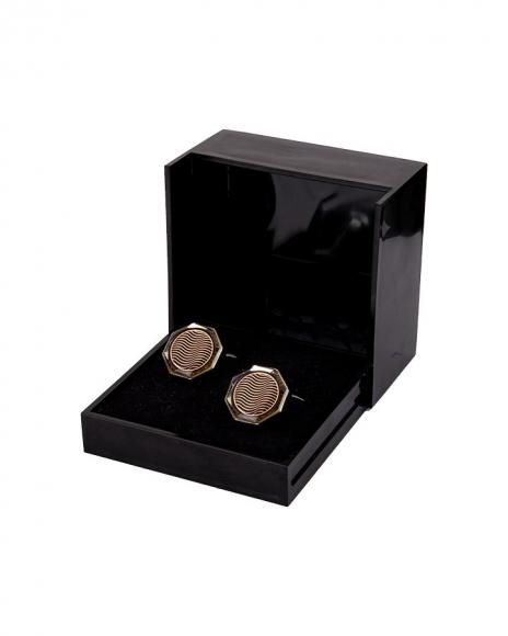 MAKROM - Luxury Hexagon Copper Color Enamel Cufflinks C 01
